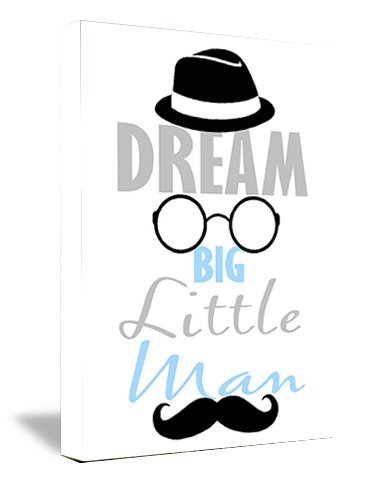 Framed Canvas Print Dream Big Little Man With Hat, Glasses, And Mustache (12''Width X 16'' Height) Cute Funny Wall Art front-855927