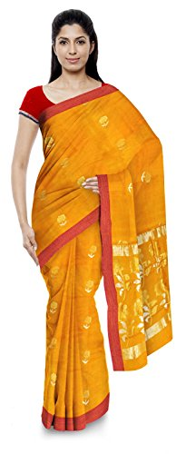 Kota Doria Sarees Handloom Women's Kota Doria Handloom Cotton Silk Saree With Blouse Piece (Yellow)