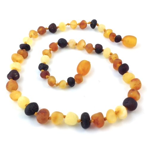 "Hazelaid (TM) 12"" Baltic Amber Multicolored Necklace (semi-polish) - 1"