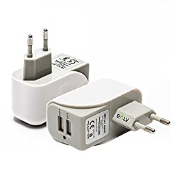 Wall Charger, E LV 2 Port Auto Detect Technology USB Wall Travel Charger Adapter for iPad / iPhone 6/6s, iphone 6s plus, 5s/5c/5/4s/4; iPad Air mini, Samsung, HTC (all models), Motorola, Google Nexus 4, 5, 7, 10 and More phone - WHITE/GREY