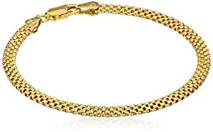 """Gold Plated Sterling Silver Mesh Chain Bracelet, 7"""""""