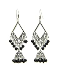 Designer Antique Look Oxidized Metal Long Earrings With Black Beads From Lazreena