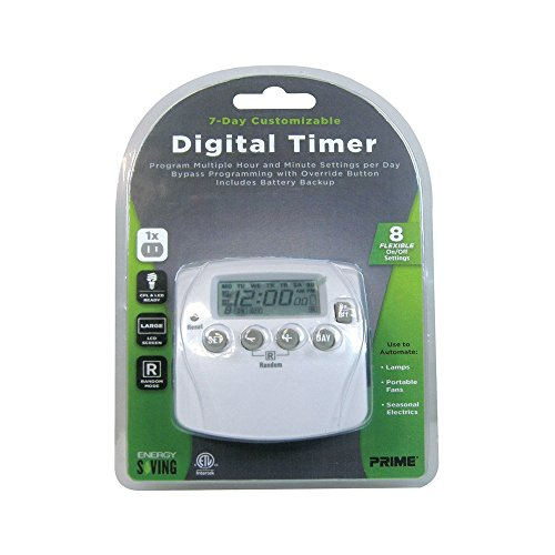 Prime Wire & Cable Tnd002 2-Outlet 7 Day Digital Timer With 8 Settings