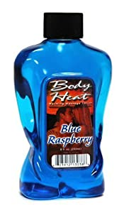 Body Heat Cool Blue Raspberry Warming Massage Oil 8oz