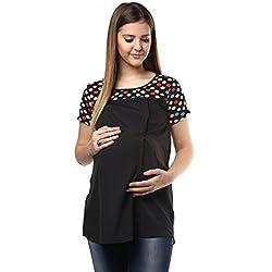 Black multi polka printed shoulder top