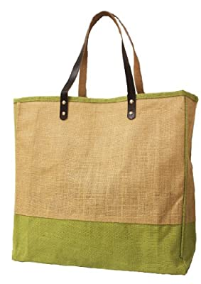 Large Eco-Friendly Beach Shopping Tote with Leather handles Fashion Bag from CarryGreen