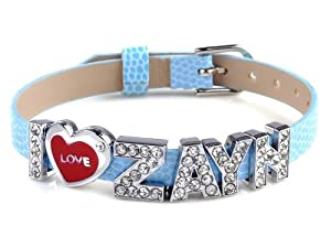 I Love Zayn I Love One Direction Blue Wristband Bracelet Slider Zircon Crystal Letter from Yiwu City Yinuo E-Commercial Business Co.,Ltd