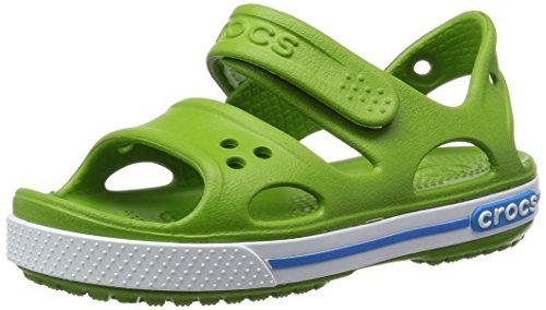 Crocs Crocband II - Sandali Unisex - Bambini, Verde (Parrot Green/Ocean), 28/29 EU