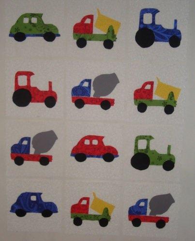 Applique Cars Trucks and Tractors Quilt Blocks Set of 12 6.5 Inch Squares