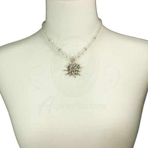 Alpenflüstern Edelweiss-Perlenkette Fiona (weiß) – moderner Trachtenschmuck, Trachtenkette und Trachten-Halskette fürs Dirndl