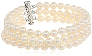 Sterling Silver Three-Row White Freshwater Cultured A Quality Pearl Bracelet (6.5-7mm), 7.25""