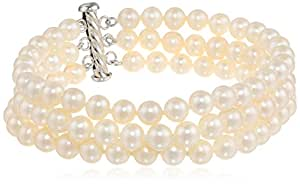 Sterling Silver Three-Row A Quality White Freshwater Cultured Pearl Bracelet (6.5-7mm)