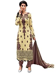 Inddus Women Beige Embroidered Georgette Dress Material