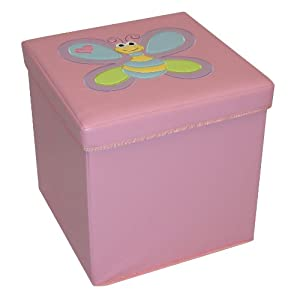 Amazon.com - RiverRidge Kids Storage Ottoman with Bee Design Pink