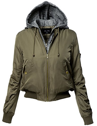 Plus Size Warm Hoodie Mixed French Terry Bomber Jackets,124-Olive,US 1XL
