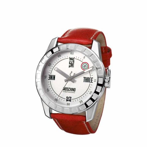 Moschino MW0021 Gents 'Joe Black' Red Leather Strap Watch