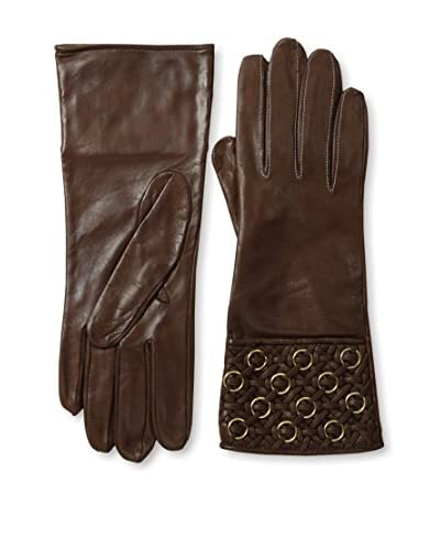 Portolano Women's Quilted Cuff Leather Gloves with Gold Rings