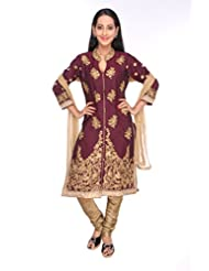 Ritu Creation Women's New Silk Stitched Straight Long Chudidar Suit With Top&Sleeve Embroided Work