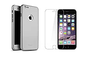D'clair Premium Grey Ipaky All - round Protective slim fit Back case cover with Tempered Glass for Apple iphone 6S