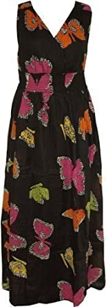 New Ladies Kushi Summer Butterfly Boho Holiday Maxi Dress Black - Size 8 -20