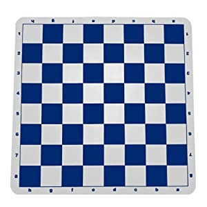 WE Games Blue Silicone Tournament Chess Mat - 20 Inch Board with 2.25 Inch Squares
