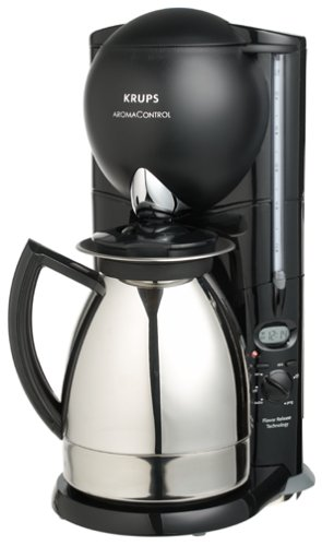 Krups 229-45 Aroma Control 10-Cup Coffeemaker with Thermal Carafe, Black and Stainless Steel (Kru Coffee Maker compare prices)