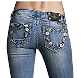Womens Miss Me Jeans Vintage Floral Design Boot Cut Designer Jeans Medium Wash/Distressed - Crystal & Leather Accents Open Pocket, 30