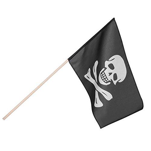 Boland 74163-Drapeau Pirate 45x 30cm avec barre, noir/blanc