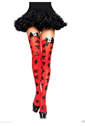 Leg Avenue Womens Opaque Card Print Thigh Highs Red O/s