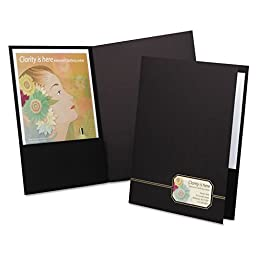 Oxford : Braxton Series Business Portfolio, Cover Stock, Black/Gold, Four per Pack -:- Sold as 1 PK