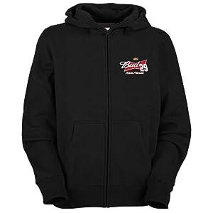 #29 Kevin Harvick Budweiser Black Fu Zip Mens Hooded Fleec -92129 by Brickels