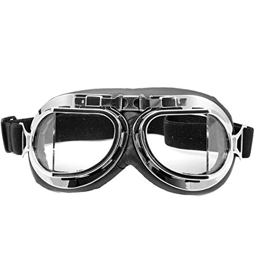 Eforstore-Raf-Pilot-Flying-Motorcycle-Scooter-Biker-Motocross-Cruisers-Sun-UV-Wind-Dust-Eye-Protect-Helmet-Goggles-Nightclub-Goggles-Chrome-Frame