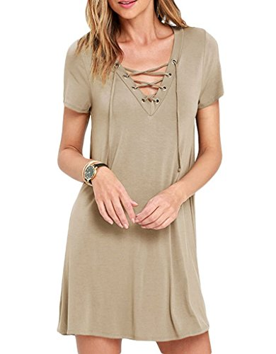 AnnFlat-Womens-Casual-V-Neck-Lace-Up-Short-Sleeve-A-Line-Swing-Mini-Dress