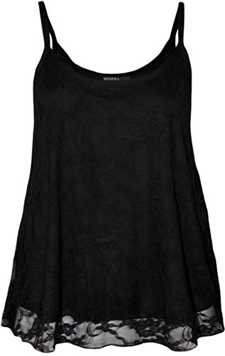 Plus Size Womens Lace Swing Ladies Strappy Sleeveless Camisole Vest Top - Black - 16-18
