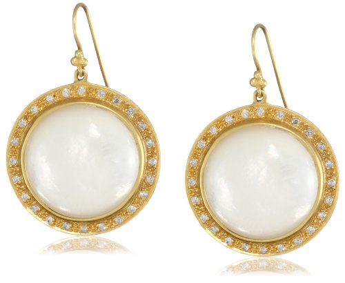 Lauren Harper Collection Over the Moon 18k Gold, Mother-Of-Pearl and Diamond Round Earrings