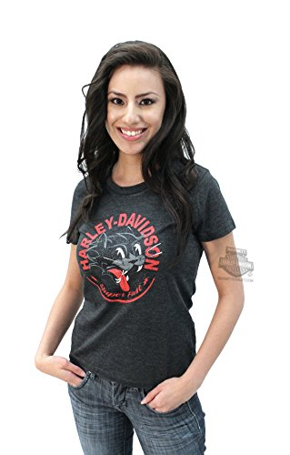 Harley-Davidson Womens Super Fast II Cat Graphic Charcoal Short Sleeve T-Shirt - XL