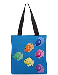 Snoogg A Vector Image Of Jellybean Or Parrot Cichlid Fish In Bright Colours Designer Poly Canvas Tote Bag