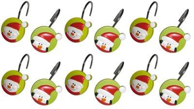 Penguin Christmas Shower Curtain Hooks