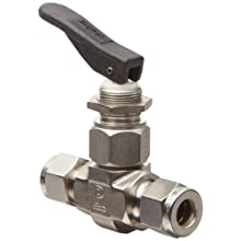 Parker VQ Series Stainless Steel 316 Toggle Valve, Inline, Toggle Handle, PTFE Stem, A-Lok Compression Fitting