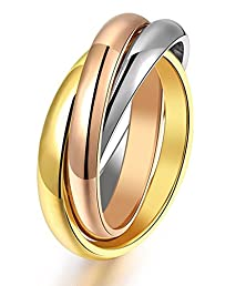 buy Stainless Steel Women'S Tone Interlocked Rolling Wedding Band Ring Tri Color:Gold,Silver,Rose