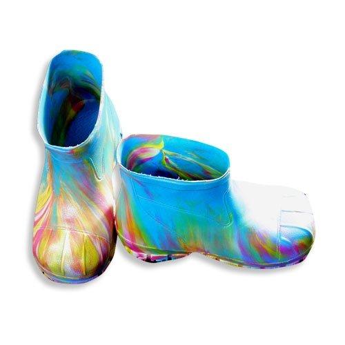Veggies - Toddler Girls Splash Tie Dye Rain Boot, Turquoise, Pink, Yellow (Size 12Toddler)