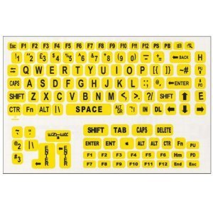 Large Print Keyboard Labels For Pcs Black Yellow