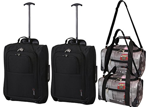 Set of 4 - 2x Ryanair Cabin Approved 55x40x20cm & 2x Second 35x20x20 Hand Luggage Set - Carry On Both items! (Black/Cities)