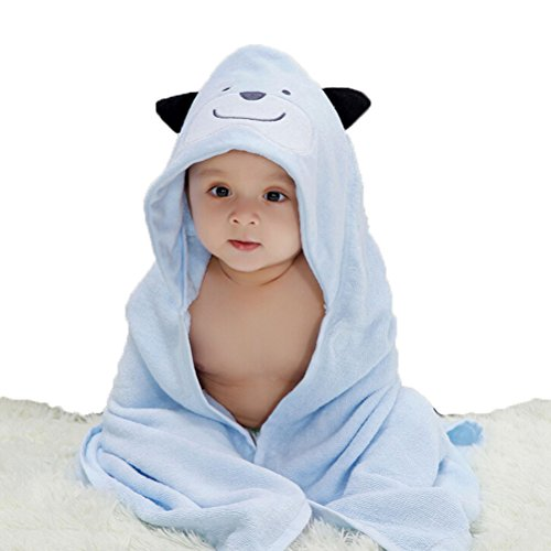 Nanxson(TM) bamboo fiber infant blanket/ bath towel YJET0006 (light blue puppy)
