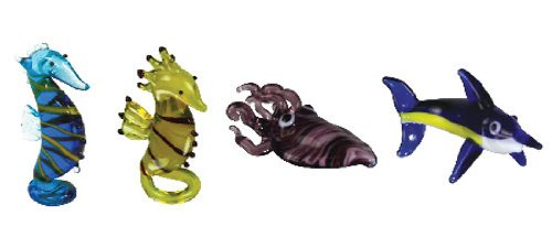 Looking Glass Miniature Collectible - Seahorse / Cuttle Fish / Marlin (4-Pack)