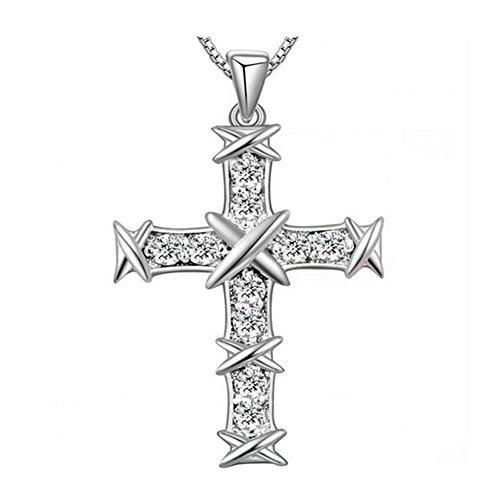 Melodyep Korean Men And Women The Same Paragraph Diamond Cross Pendant Silver Pendant (Dragon De Fisher Price compare prices)