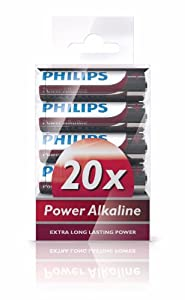 Philips LR6P20T/17 PowerLife Power Alkaline AA Battery, 20-Pack