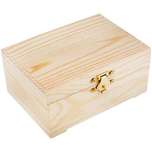 [해외]걸쇠 (3 팩)으로 설정 Multicraft 수입 WS910B 사각형 나무 공예 기념품 보석 상자/Multicraft Imports WS910B Rectangle Wood Craft Keepsake Jewelry Bo