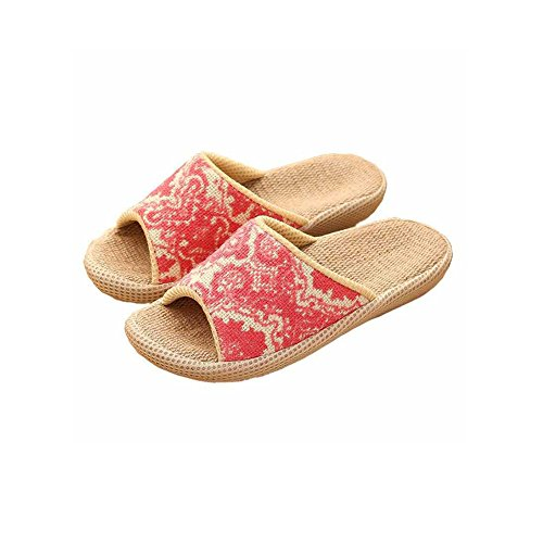 Upinva Slip on Slippers Unisex Couples Non-slip Organic Linen Summer Spring Open Tote Sandals Moisture Wicking Cool Flax Indoor or Outdoor Slippers Rubber Sole Ethnic VINTAGE STYLE Summer Slippers Pantofle