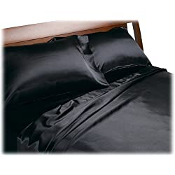 Divatex Home Fashions Royal Opulence Satin Full Sheet Set, Black